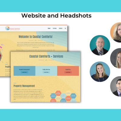 Diorama of website and headshot photography